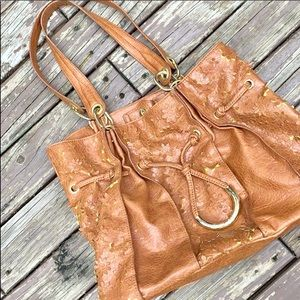{JESSICA SIMPSON} Brown 3D Floral Hobo Bag
